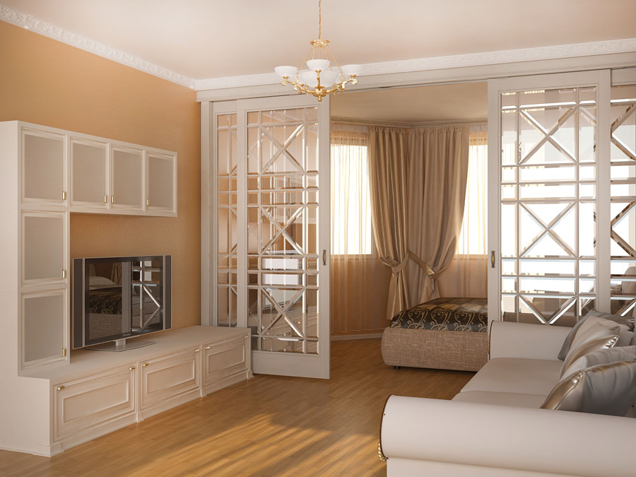 Разделение спальни и гостиной раздвижными дверями